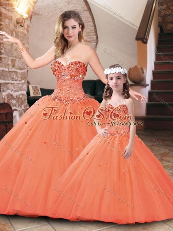 Best Selling Really Puffy Beaded Princesita Quinceanera Dresses in Orange Red