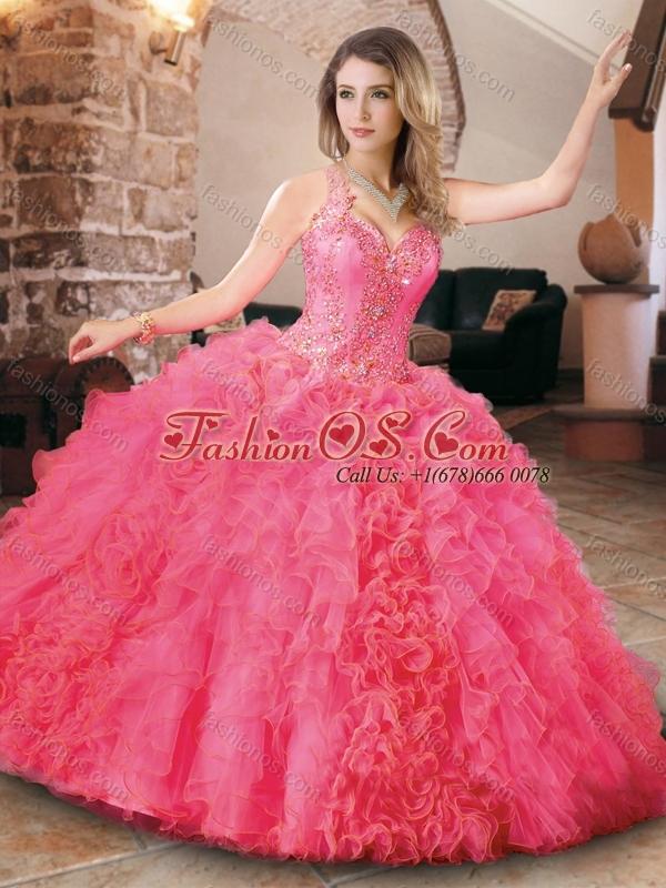 Cheap Halter Top Organza Princesita Quinceanera Dresses in Hot Pink