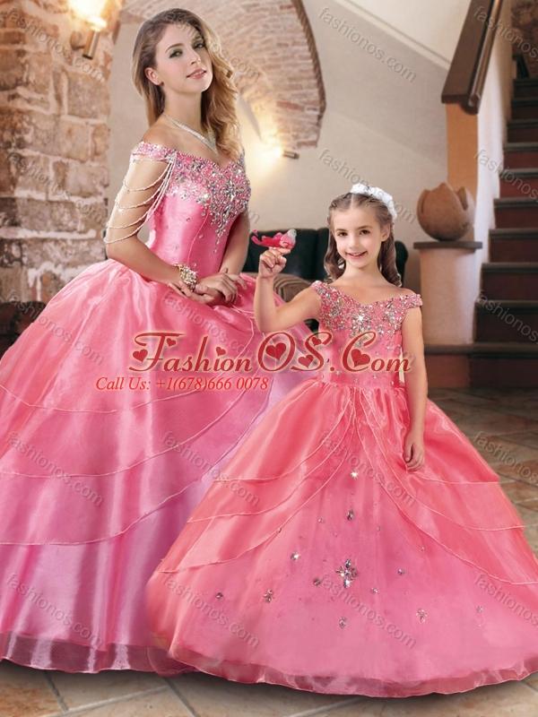 Gorgeous Beaded Rose Pink Princesita Quinceanera Dresses in Organza