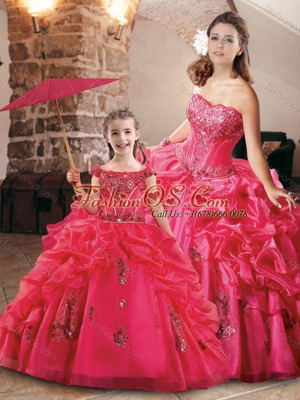 Luxurious Bubble and Applique Princesita Quinceanera Dresses in Coral Red