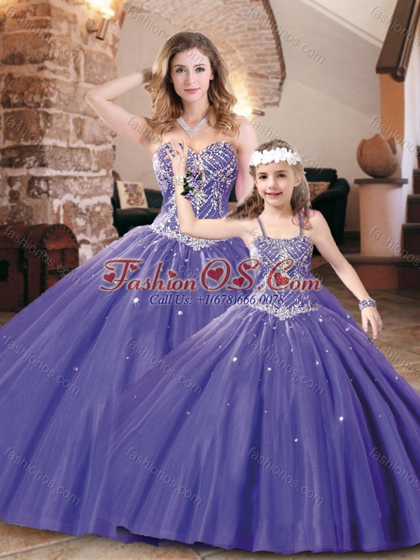 Modern Big Puffy Tulle Purple Princesita Quinceanera Dresses with Beading