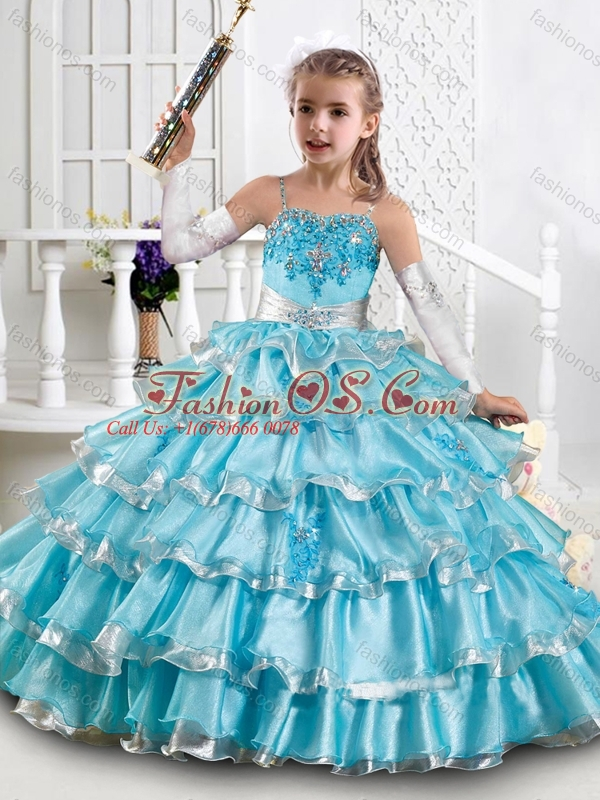 Pretty Beaded and Ruffled Layers Princesita Quinceanera Dresses in Aqua Blue