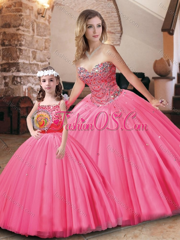 2016 Pretty Tulle Hot Pink Princesita Quinceanera Dresses with Beading