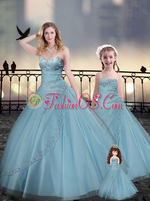 Custom Fit Light Blue Macthing Sister Dresses with Beading and Appliques