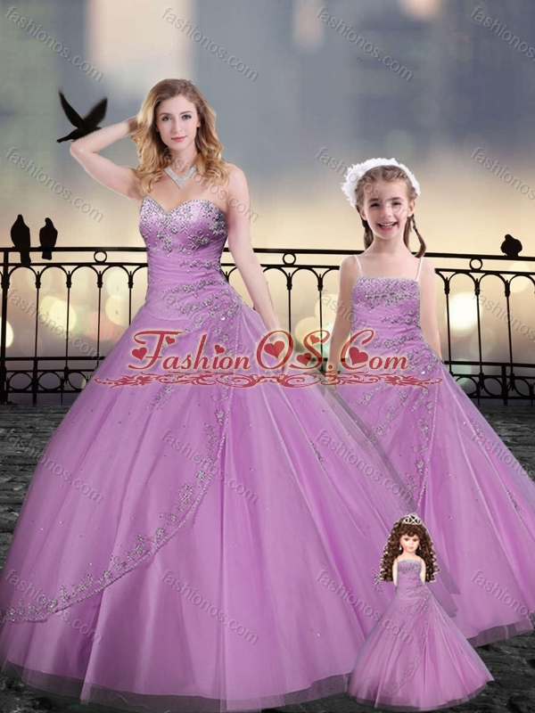 Custom Made Beaded and Applique Macthing Princesita with Quinceanera Dresses in Lilac
