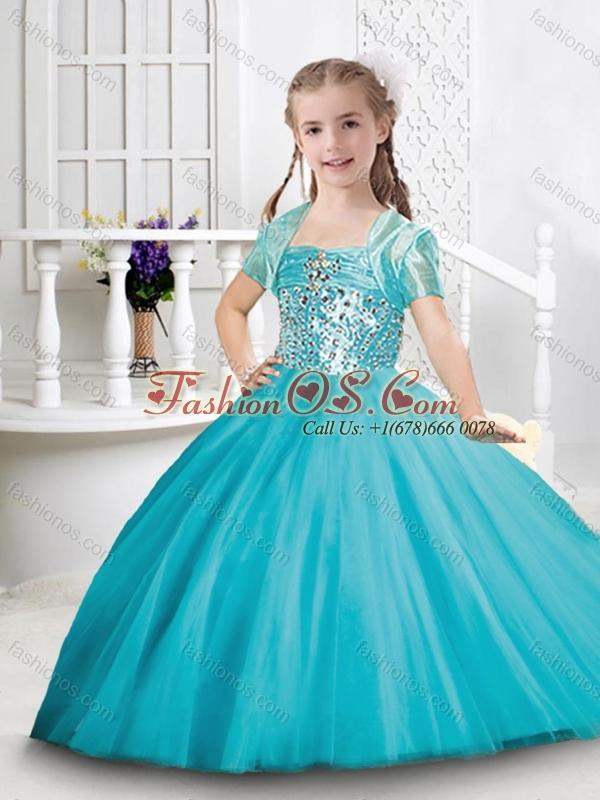 Exquisite Visible Boning Tulle Princesita Quinceanera Dresses in Aqua Blue