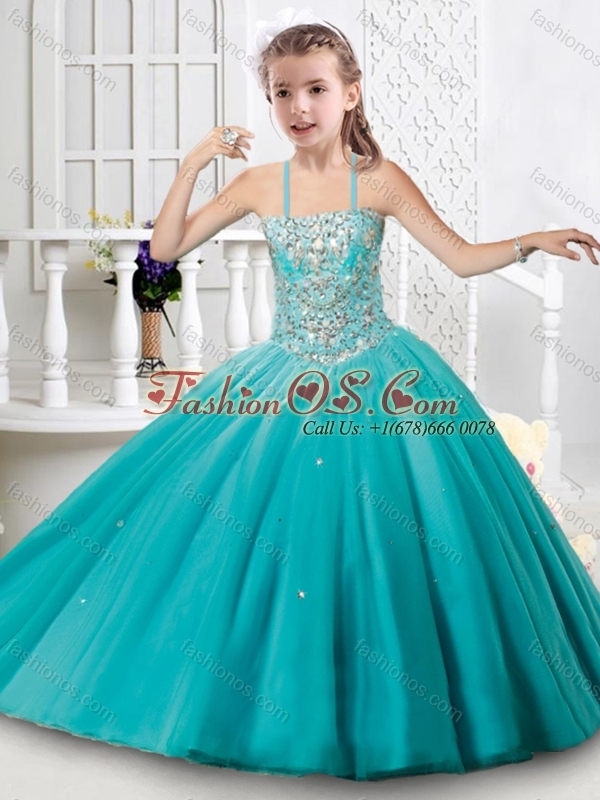 Fashionable Beaded Bodice Princesita Quinceanera Dresses in Aqua Blue