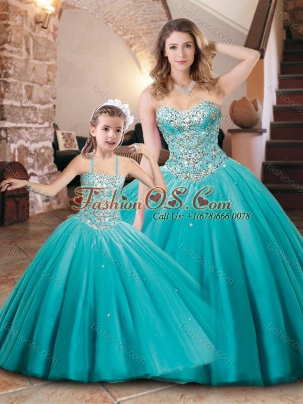 Fashionable Beaded Bodice Princesita Quinceanera Dresses in Aqua Blue
