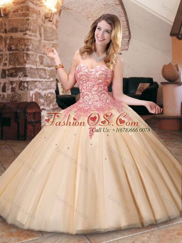 Latest Champagne Princesita Quinceanera Dresses with Appliques and Beading