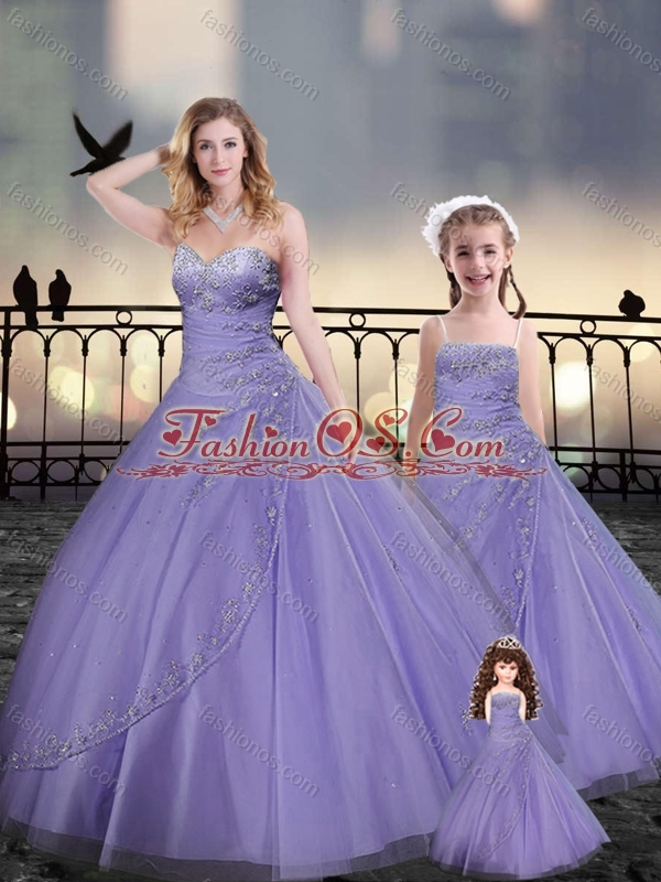 Lavender Princesita with Quinceanera Dresses in Tulle with Beading and Appliques