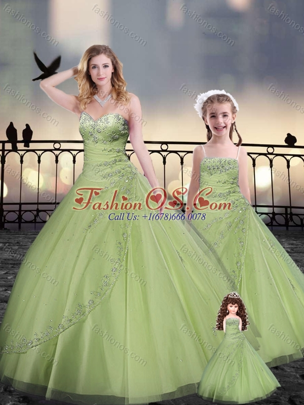 Yellow Green Princesita with Quinceanera Dresses in Tulle with Beading and Appliques