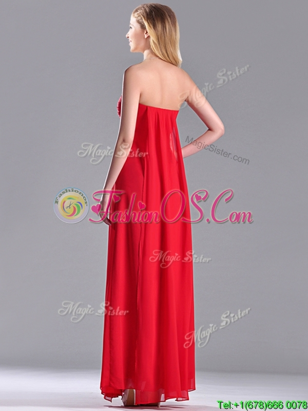 Beautiful Sweetheart Chiffon Ruched Red Dama Dress in Ankle Length