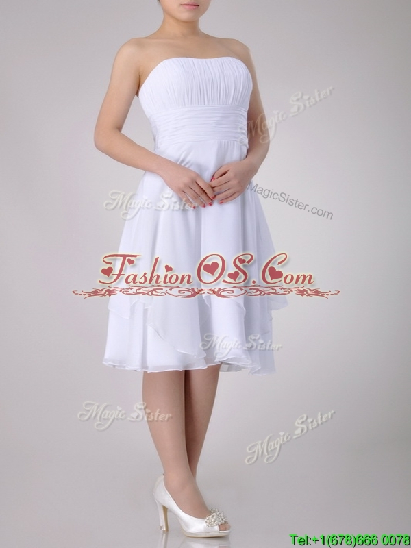 Cheap Strapless Chiffon White Dama Dress with Ruched Decorated Bust