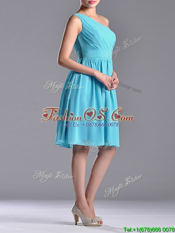 Discount Chiffon Aqua Blue Knee Length Dama Dress with One Shoulder