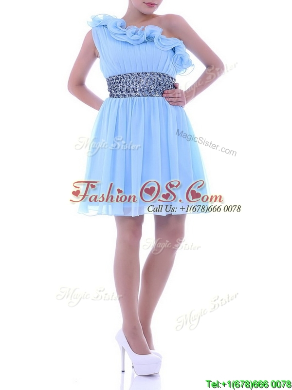 One Shoulder Light Blue Dama Dress with Beaded Decorated Waist and Ruffles