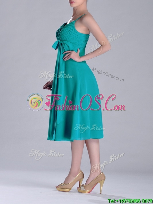 Spaghetti Straps Ruched and Belted Turquoise Dama Dress in Tea Length