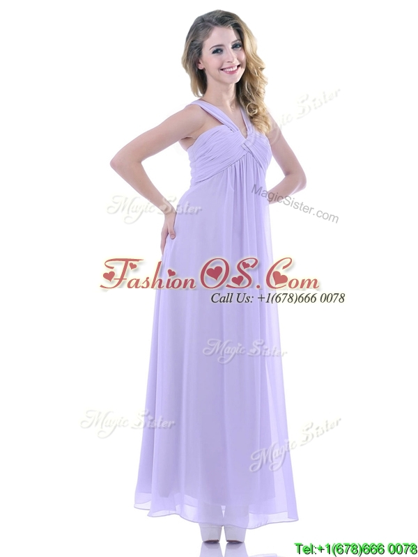 Wonderful Ruched Decorated Bust Ankle Length Dama Dresses for Quinceanera in Lavender
