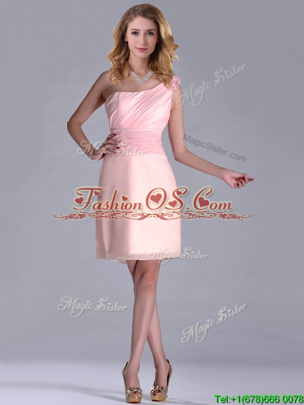 2016 Exquisite One Shoulder Side Zipper Dama Dress in Baby Pink