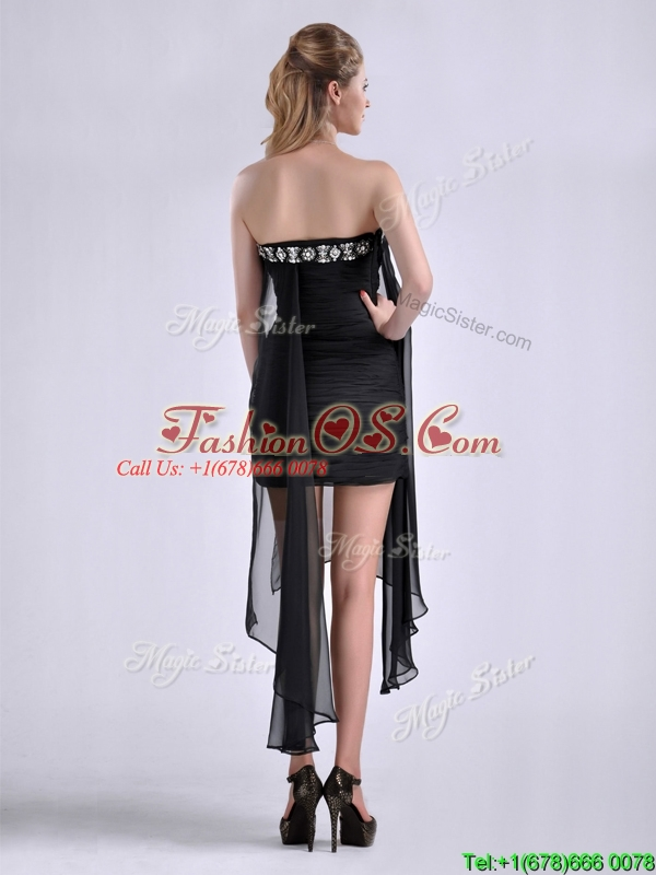 Best Selling Asymmetrical Column Prom Dress with Beaded Top and Ruching