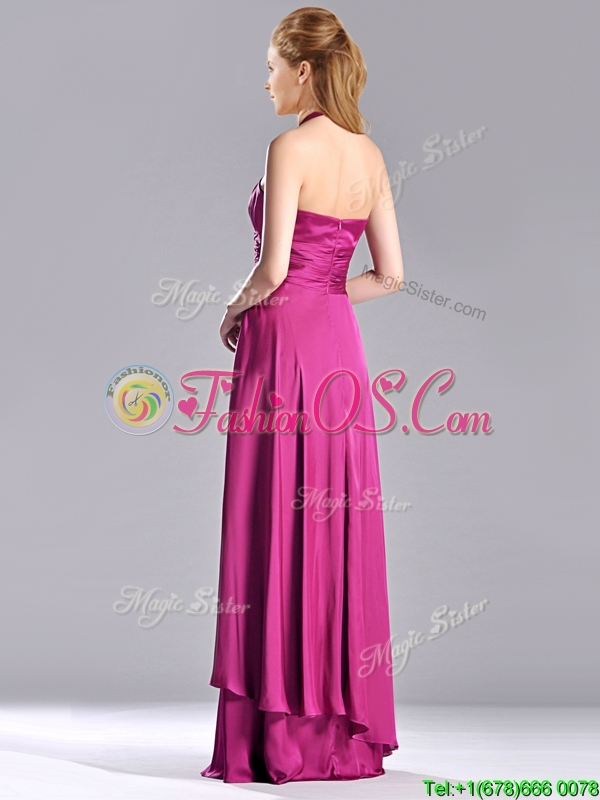 Classical Halter Top Fuchsia Long Bridesmaid Dress in Elastic Woven Satin