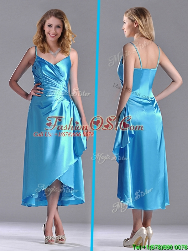 Classical Spaghetti Straps Baby Blue Dama Dresses for Quinceanera in Tea Length