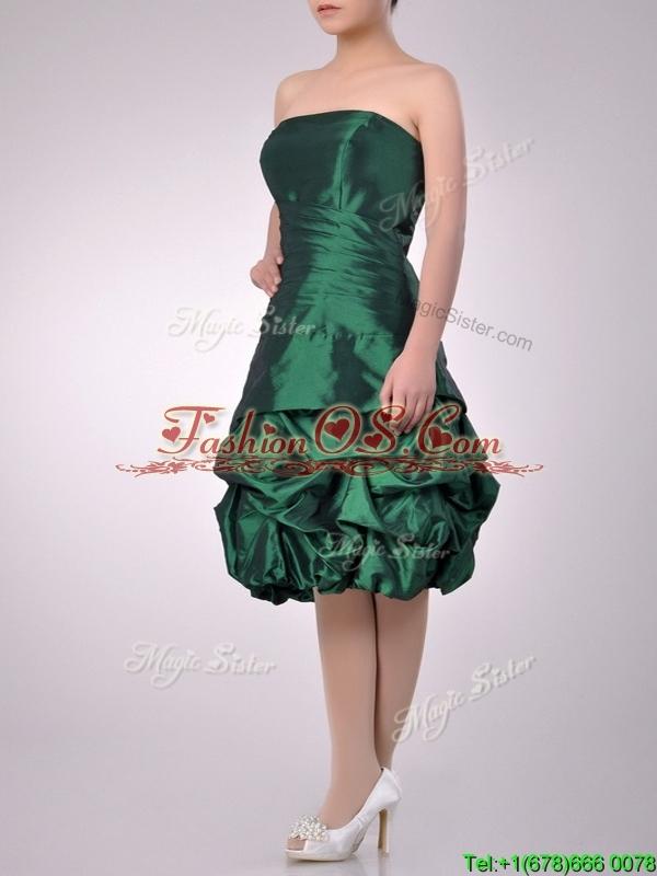 Classical Taffeta Strapless Bubble Bridesmaid Dress in Dark Green