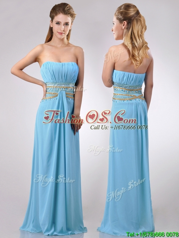 Discount Beaded Decorated Waist and Ruched Bodice Prom Dress in Aqua Blue