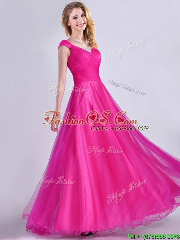 Exclusive Organza Beaded Top Hot Pink Dama Dress with Cap Sleeves