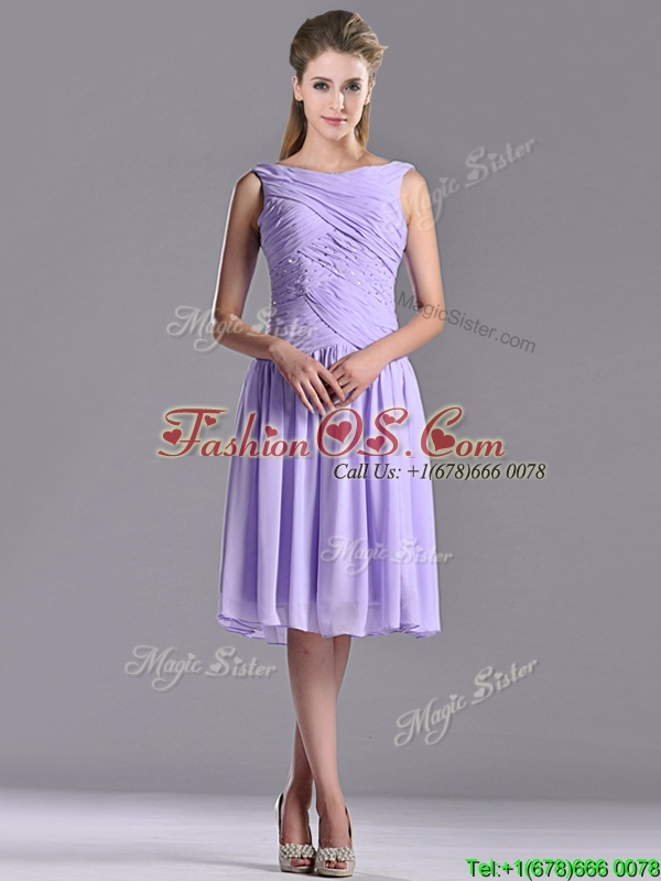 Lovely Empire Chiffon Lavender Dama Dress with Beading and Ruching
