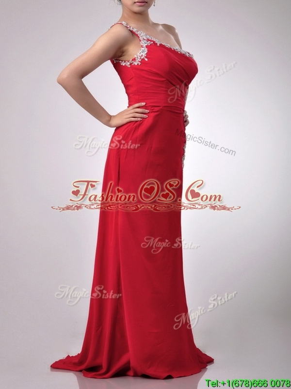Luxurious Beaded Decorated One Shoulder and High Slit Prom Dress with Brush Train