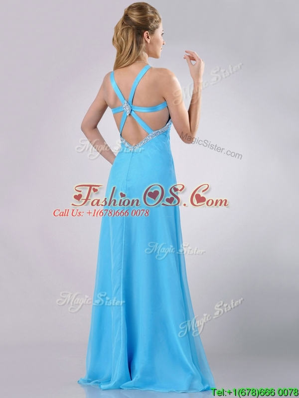 Luxurious Straps Criss Cross Beaded Long Prom Dress in Baby Blue