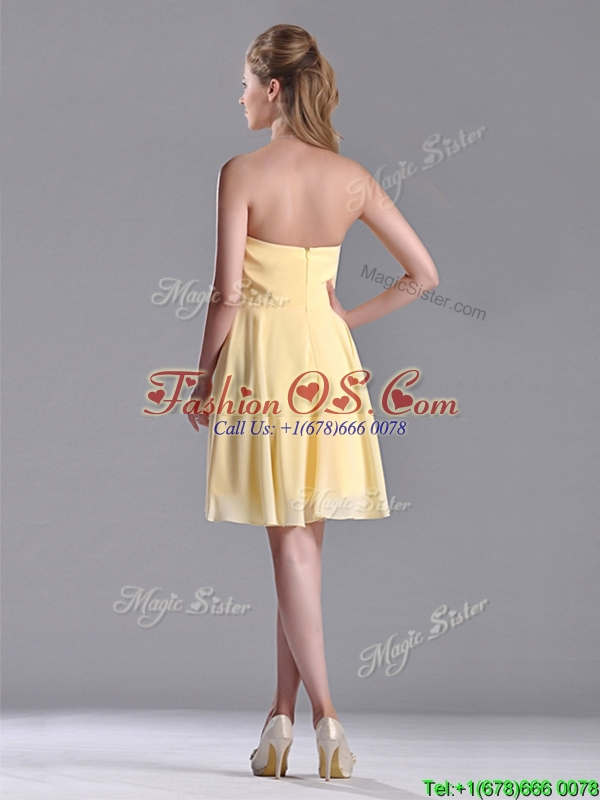 Modest Empire Chiffon Yellow Short Dama Dress with Beading