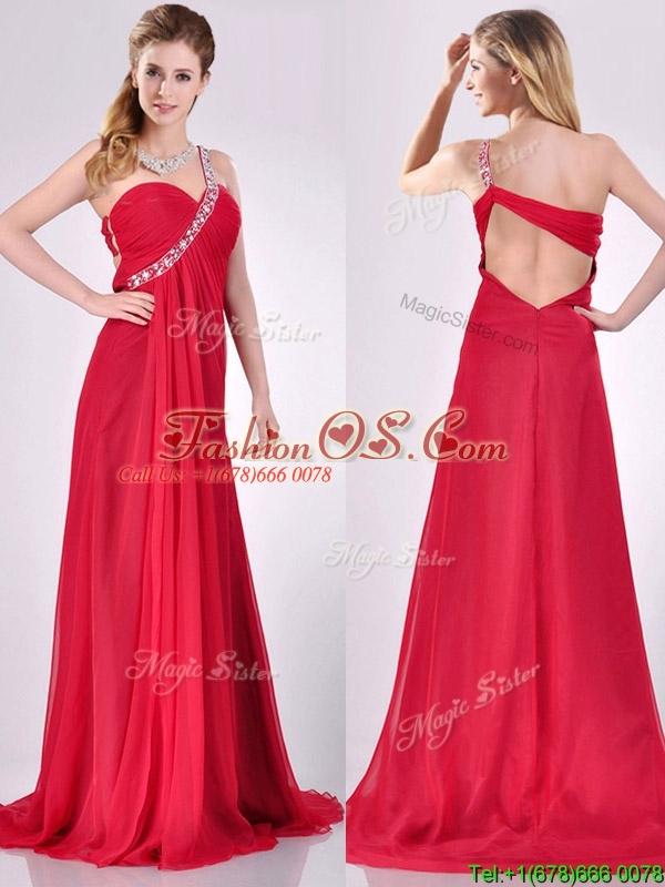 New Beaded Decorated One Shoulder Red Prom Dress with Brush Train