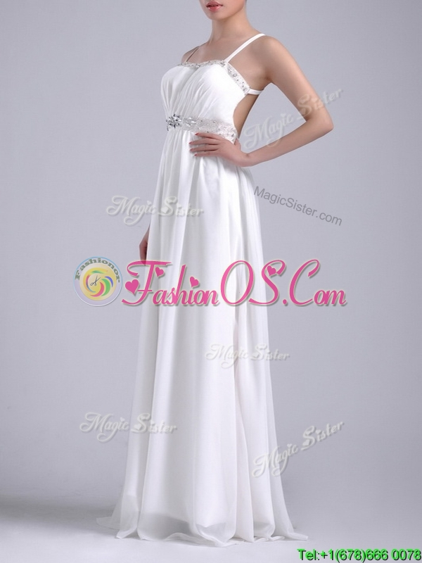 New Style Beaded Top and Waist White Dama Dresses for Quinceanera with Criss Cross