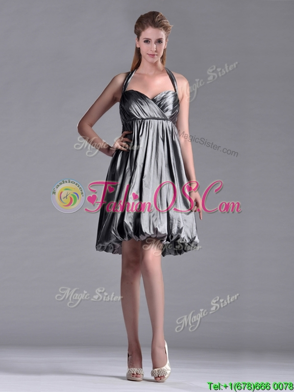 New Style Halter Top Taffeta Silver Dama Dresses for Quinceanera with Backless