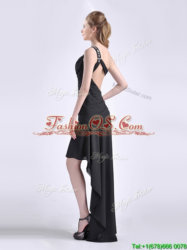 Romantic High Low One Shoulder Black Prom Dress with Criss Cross