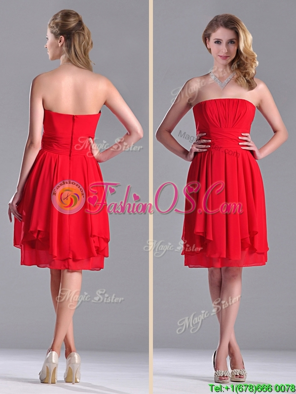 The Super Hot Strapless Empire Chiffon Ruched Dama Dresses for Quinceanera in Red