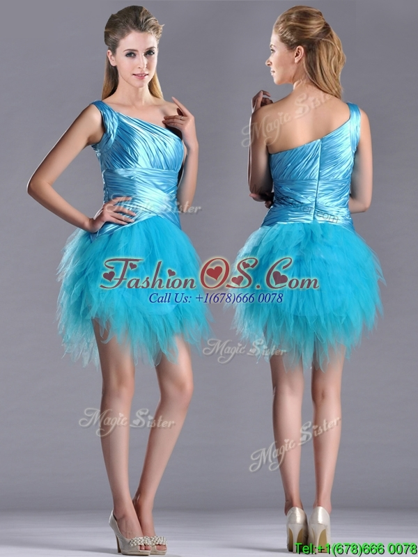 Wonderful One Shoulder Ruched and Ruffled Aqua Blue Prom Dress in Tulle