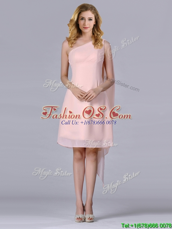 Cheap One Shoulder Chiffon Ruching Short Dama Dresses for Quinceanera in Pink