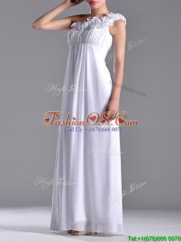 Elegant Empire Hand Crafted Side Zipper White Dama Dresses for Quinceanera with One Shoulder