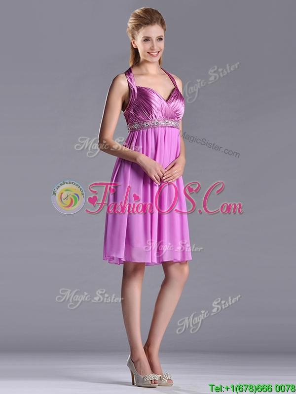 Empire Halter Knee-length Beaded Short Dama Dresses for Quinceanera in Lilac