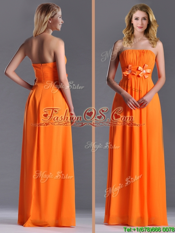 Empire Strapless Ruching Chiffon Long Dama Dresses for Quinceanera in Orange