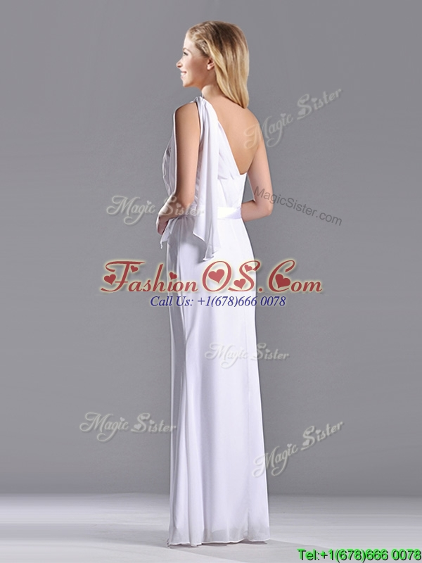 Exclusive Column White Chiffon Backless Prom Dress with One Shoulder
