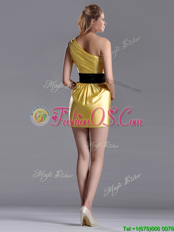 Exclusive One Shoulder Ruched and Belted Dama Dresses for Quinceanera with Side Zipper