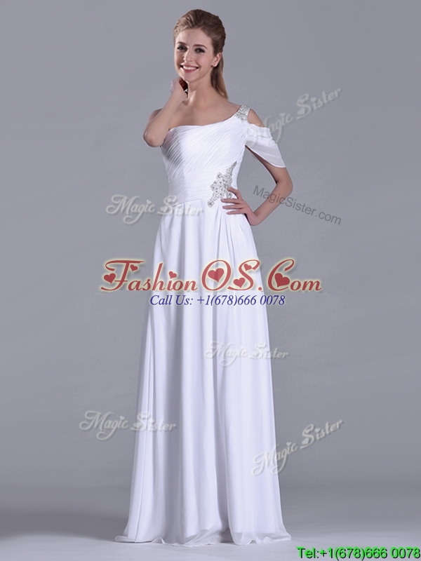 Fashionable Empire One Shoulder Beaded White Long White Dama Dress for Holiday