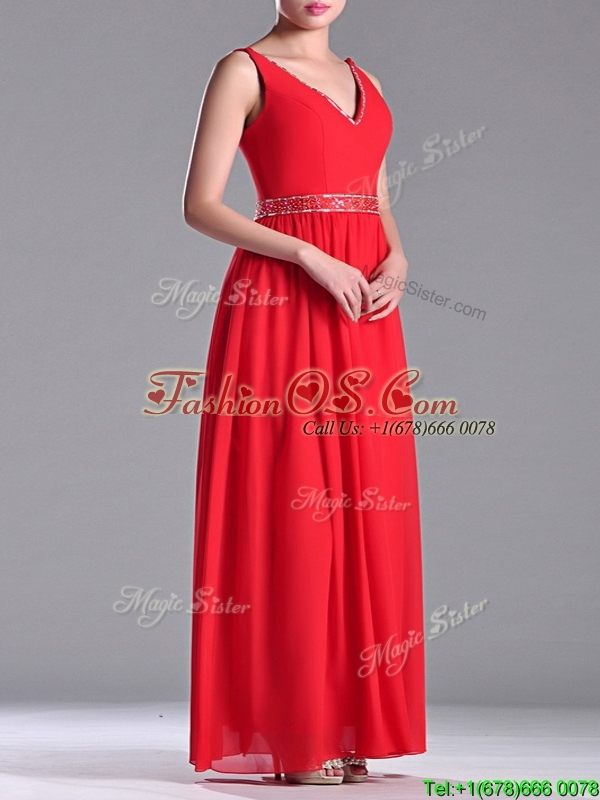 Fashionable V Neck Ankle Length Prom Dress with Beaded Decorated Waist