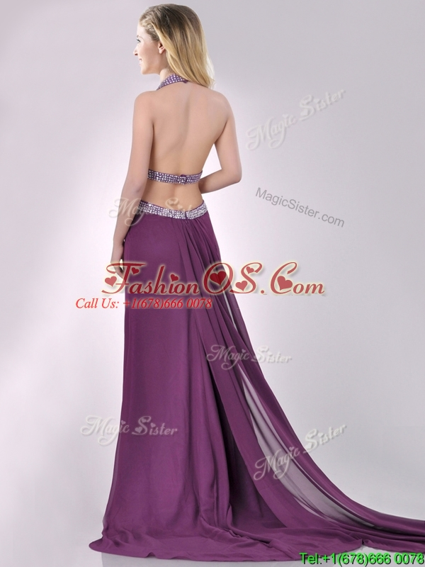 Gorgeous Cut Out Waist Halter Top Prom Dress with Brush Train