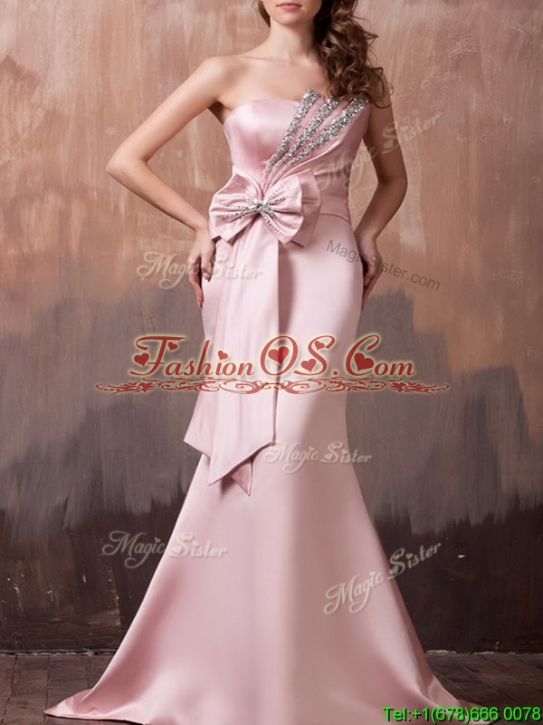 Gorgeous Mermaid Brush Train Prom Dress with Beading and Bowknot
