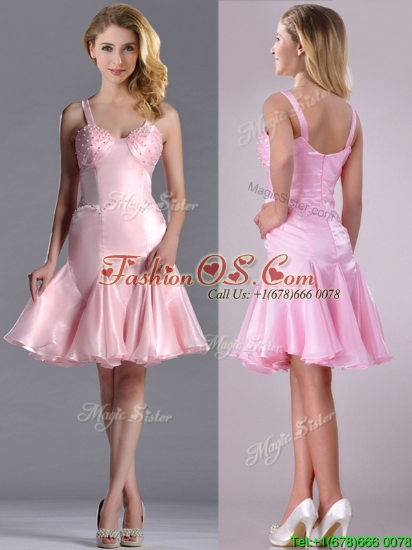Lovely Beaded Bust Straps Short Dama Dresses for Quinceanera in Baby Pink