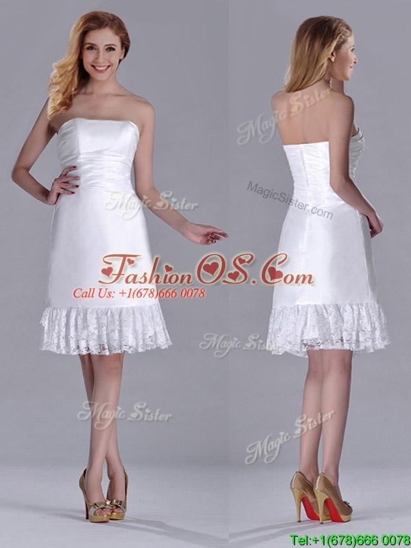 Low Price Strapless White Short Dama Dress in Lace and Satin